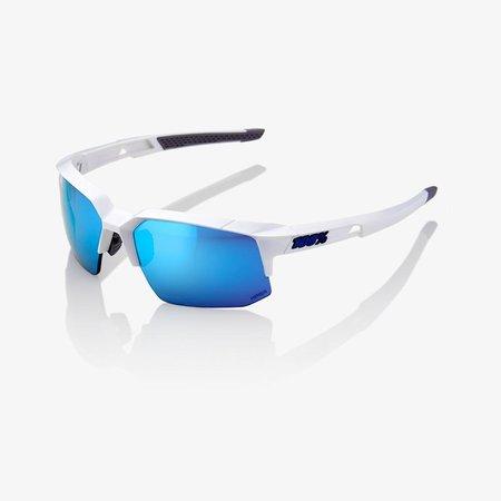 100% 100% Speedcoupe - Matte White - Hiper Blue Lens