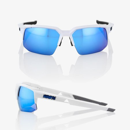 100% 100% SPEEDCOUPE® Matte White HiPER® Blue Multilayer Mirror Lens + Clear Lens Included