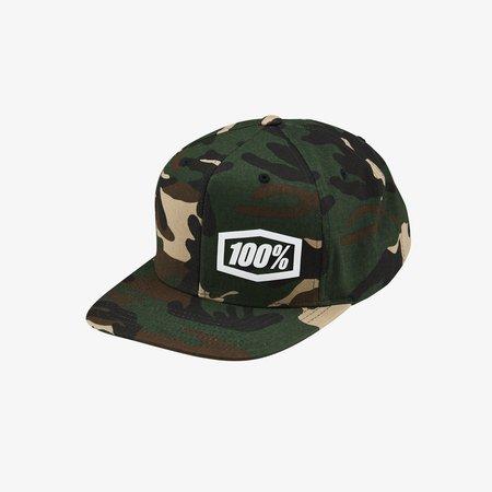 100% 100% Snapback Hat MACHINE Camo