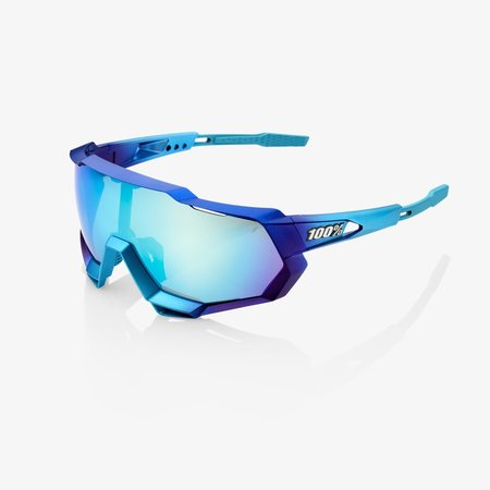 100% 100% SPEEDTRAP® Matte Metallic Into the Fade Blue Topaz Multilayer Mirror Lens + Clear Lens Included