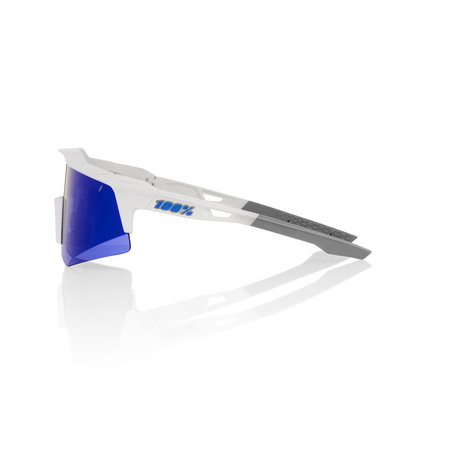 100% 100% SPEEDCRAFT XS - Matte White - Blue Multilayer Mirror Lens (Incl. Clear Lens)
