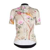 Dames Fietsshirt Korte Mouwen G1 Japanese Garden Beige