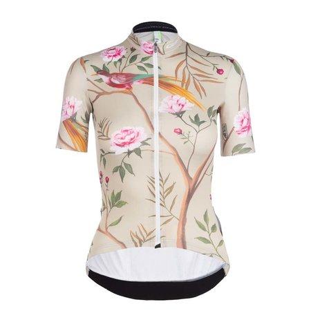 Q36.5 Q36.5 Dames Fietsshirt Korte Mouwen G1 Japanese Garden Beige