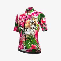 Dames Fietsshirt Korte Mouwen PRR Tiger Roze-Groen