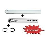 TMC UVC lampset TL 30w + kwartsglas 30x871mm + o-ringen