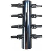Aquaforte Luchtverdeler voor 9mm 8 uitgangen met kraan verchroomd