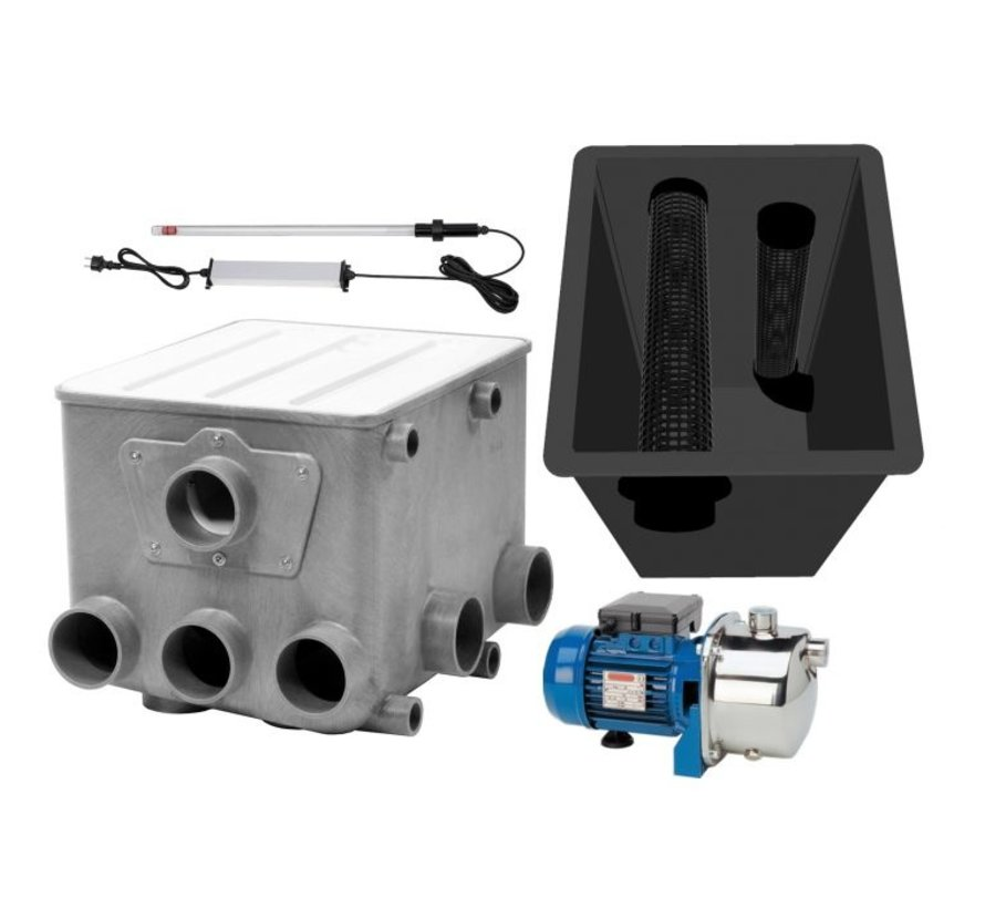 AquaForte Trommelfilter + Spoelpomp + UV-C + Biokamer