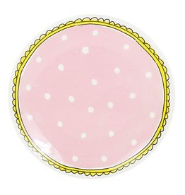 "Blond Amsterdam Gebaksbord 18cm Roze Stip ""Even Bijkletsen"" - Blond Amsterdam"