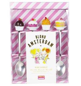 "Blond Amsterdam Set van 4 Theelepels ""Even Bijkletsen"" - Blond Amsterdam"