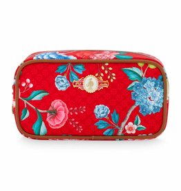 Pip Studio Make-Up Tasje Rechthoek Floral Good Morning rood - Pip Studio