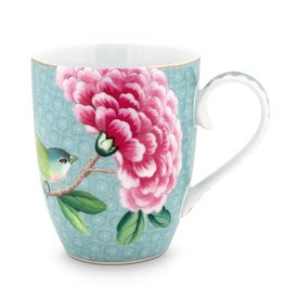 Pip Studio Mok groot Blushing Birds blauw 350ml - Pip Studio