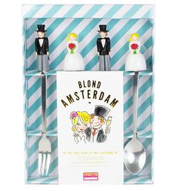 Blond Amsterdam Trouwset Gebaksvorkjes en Gebakslepeltjes - Blond Amsterdam
