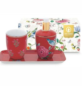 Pip Studio Set van 3 Badkameraccessoires Floral Good Morning rood - Pip Studio