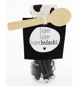 """Flesje met Snoep """"Super Super Super Bedankt"""""""