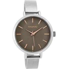 OOZOO Horloge C9493 zilver/taupe/rosé 38mm - OOZOO