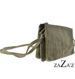 ZaZa'Z Tas klein 3-Vaks  groen/grijs croco - ZaZa'Z