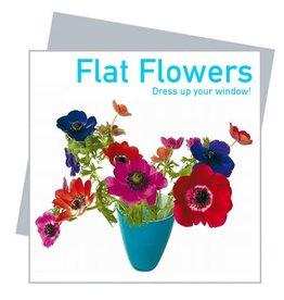 Flat Flowers Wenskaart + Raamsticker Anemonen Blauw - Flat Flowers