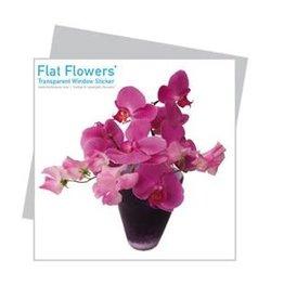 Flat Flowers Wenskaart + Raamsticker Roze Orchidee - Flat Flowers