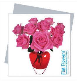Flat Flowers Wenskaart + Raamsticker Roze Rozen - Flat Flowers