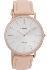 OOZOO Horloge Vintage zacht roze zilver alu 40mm C9336 - OOZOO