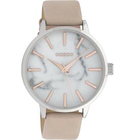 OOZOO Horloge zacht roze/marmer/wit/rosé 42mm C9756 - OOZOO