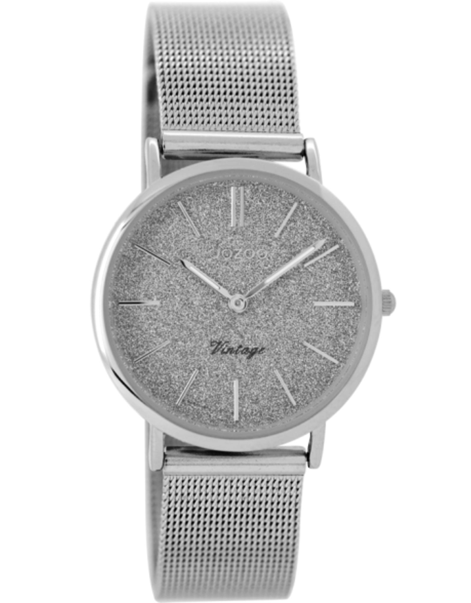 OOZOO Horloge Vintage Zilver met Glitter 32mm C8837 - OOZOO