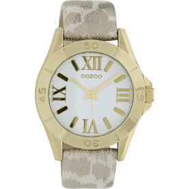 OOZOO Horloge panter/goud/wit 40mm C9781 - OOZOO