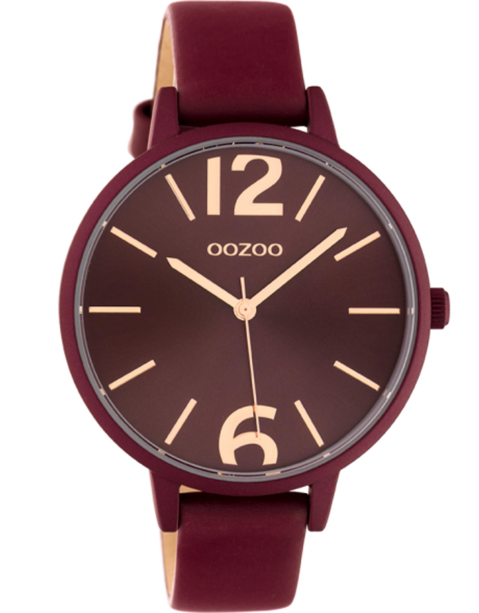 OOZOO Horloge wijnrood/rosé 42mm C10444 - OOZOO
