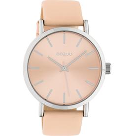OOZOO Horloge crème perzik/zilver 42mm C10446 - OOZOO
