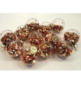 Home Society Kerstballen klein gevuld met zilver, rode en gouden sterren 12stuks - Home Society