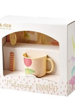 Rice Melamine KinderServies in Cadeauverpakking roze - Rice