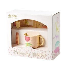 Rice Melamine KinderServies in Cadeauverpakking roze - Rice