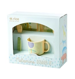 Rice Melamine KinderServies in Cadeauverpakking blauw - Rice