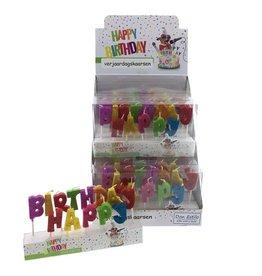 Verjaardagskaarsjes Happy Birthday met glitter