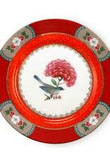 Pip Studio Gebaksbord Blushing Birds rood 17cm - Pip Studio