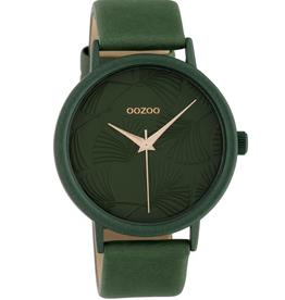 OOZOO Horloge donker groen/rosé 42mm C10398 - OOZOO