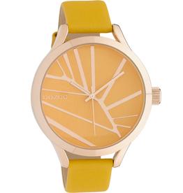 OOZOO Horloge mosterd geel rosé 43mm C10465 - OOZOO