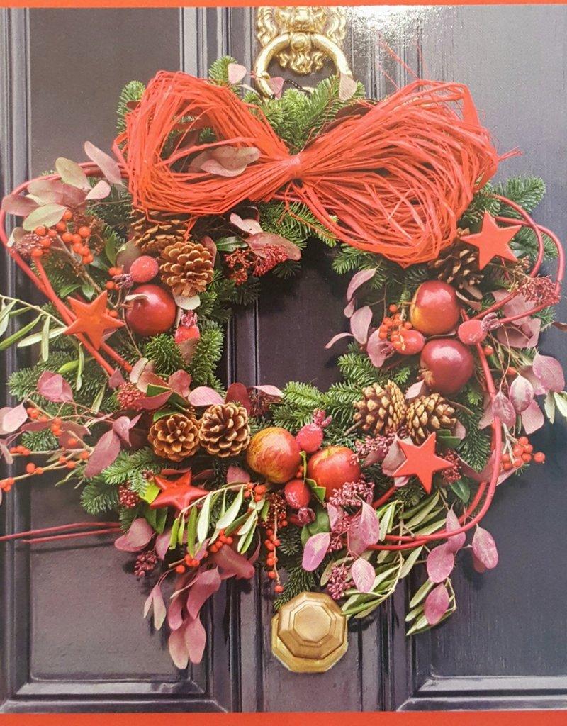 8 kerstkaarten - prettige kerstdagen en een gelukkig nieuwjaar - kerstkrans