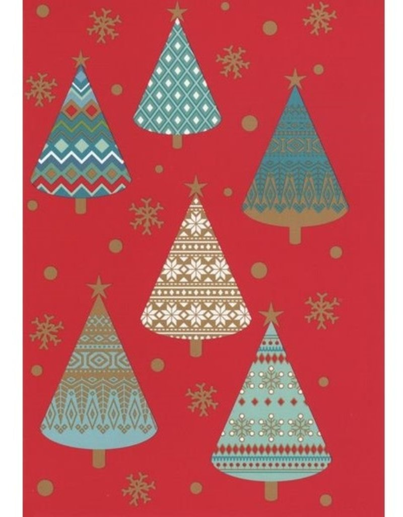 8 kerstkaarten - Roger la Borde - Kerstbomen