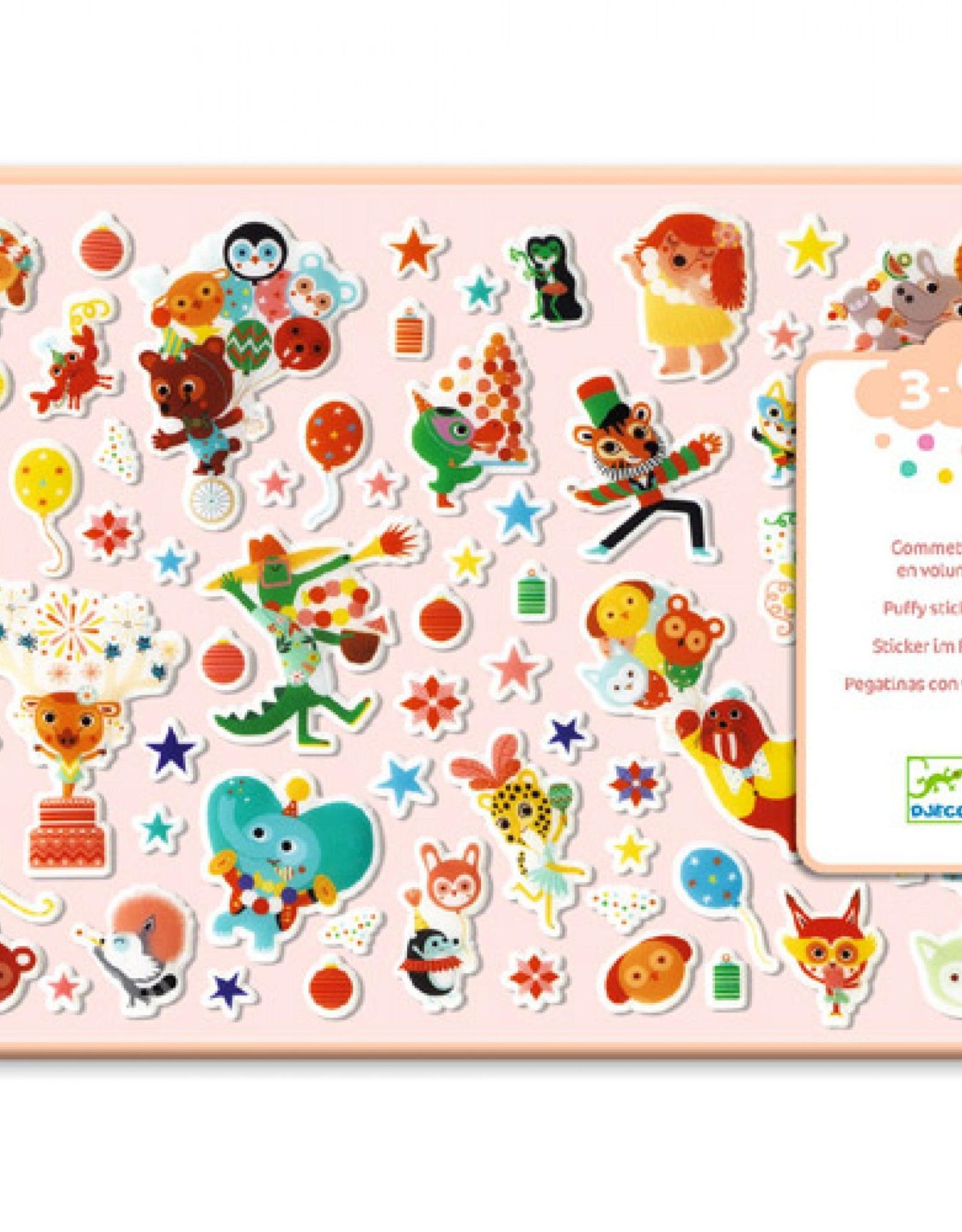 Djeco Puffy Stickers Feest 3-6jr - Djeco