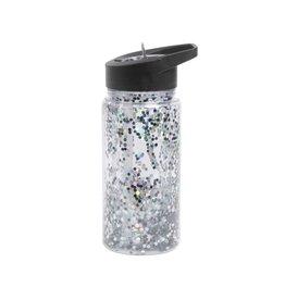 A Little Lovely Company Drinkfles Glitter zwart zilver - A Little Lovely Company