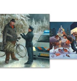 Kerstkaarten Kerstprent / Kerststress 2x5stuks - Marius van Dokkum