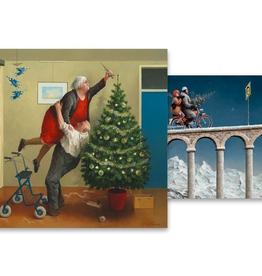 Kerstkaarten Kerstengeltjes / Wegomlegging 2x5stuks - Marius van Dokkum