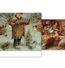 Kerstkaarten Stille nacht / Het bezoek van de Herders 2x5stuks - Marius van Dokkum