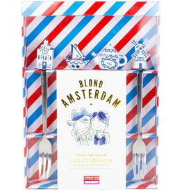 """Blond Amsterdam Set van 4 Taart vorkjes """"Delfts Blond"""" - Blond Amsterdam"""