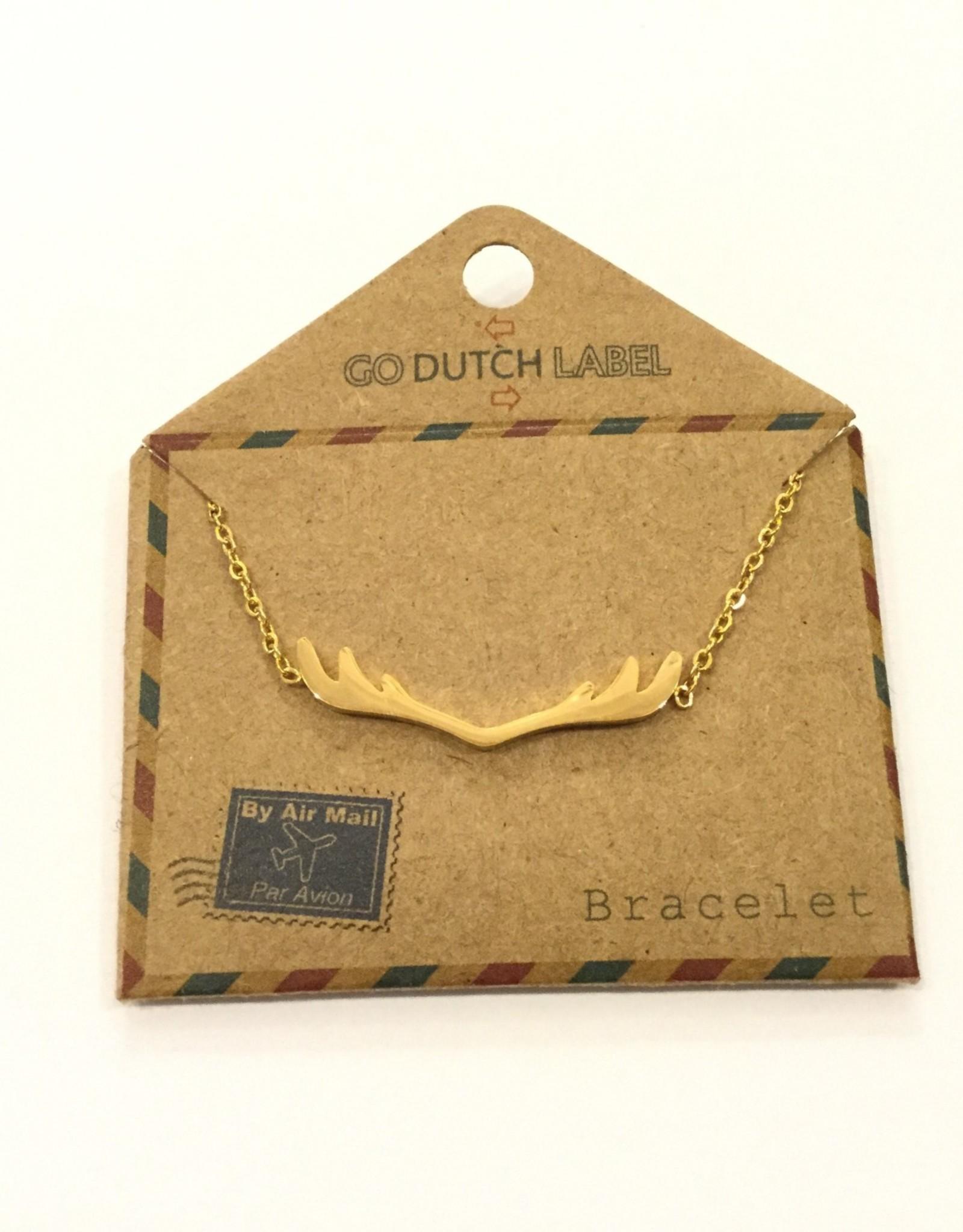 Go Dutch Label Armband. B7186-2 gewei 14K goud / Go Dutch Label