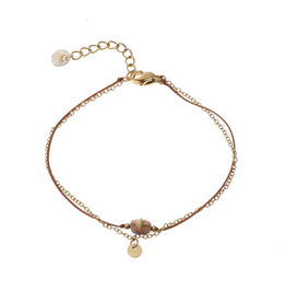 Go Dutch Label Armband. B9841-4 Taupe 14K goud - Go Dutch Label