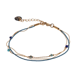 Go Dutch Label Armband. B9303-05 Blauw 14K Goud - Go Dutch Label