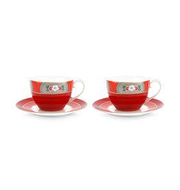 Pip Studio Set van 2 Cappuccino Kop & Schotels Blushing Birds rood 280ml - Pip Studio