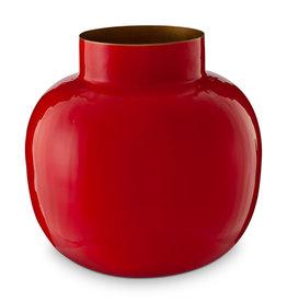 Pip Studio Vaas Metaal Rond rood 25cm - Pip Studio